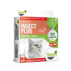NATURLY'S - Pipettes anti-puces pour chat et chaton BIO