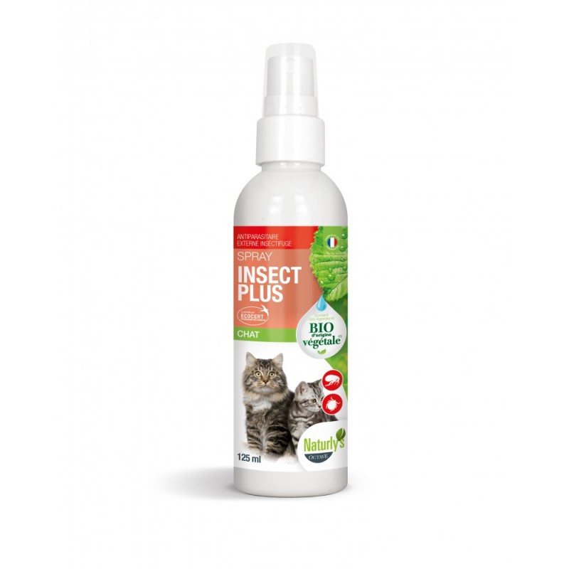 NATURLY'S - Lotion BIO anti-puces pour chat Insect+ 125 ml