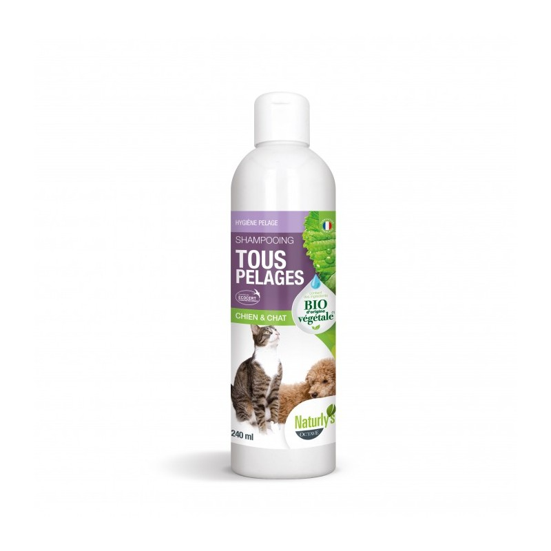 NATURLY'S - Shampoing BIO sans paraben tout pelage 240 ml