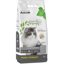 Litière végétale soja Essentiel au Charbon actif 15 L - AGECOM