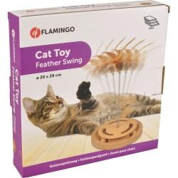 Jouet en bois pour chat circuit balles et plumeau - FLAMINGO