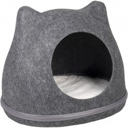 Dôme pour chat en feutrine Tiga 43x36x35 cm - FLAMINGO