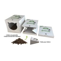 Maison de Toilette pour chat Pliable Jetable biodégradable - PETSEC