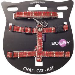 Kit harnais et laisse assortis pour chat + grelot Kilt - BOBBY