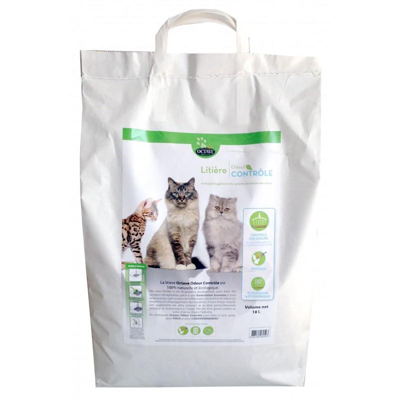 OCTAVE NATURE - Litière pour chat Végétale Odeur Contrôle 18 L