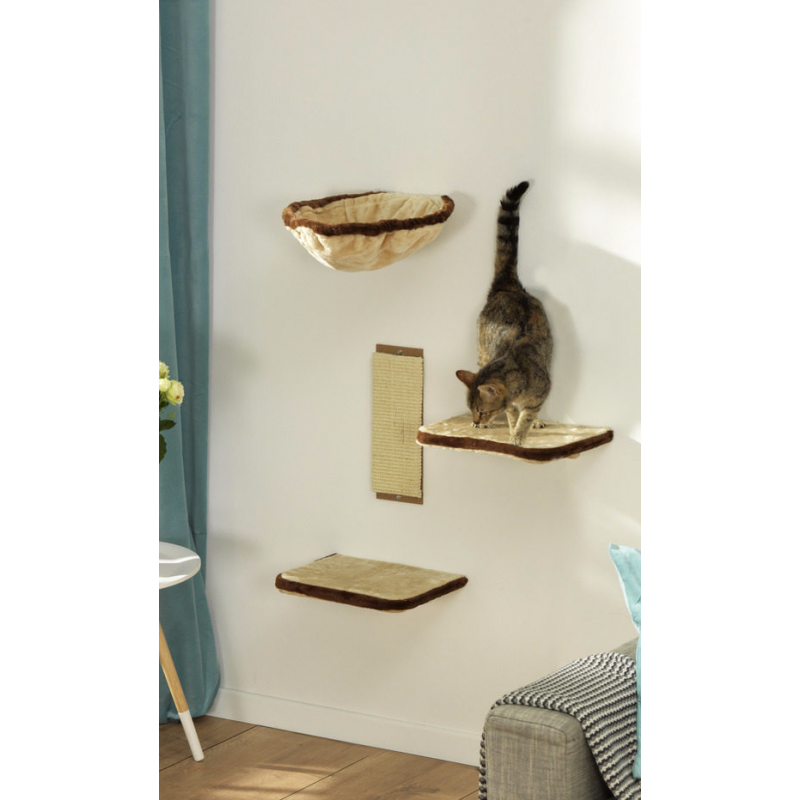 parcourt mural pour chat kit de 4 tag res. Black Bedroom Furniture Sets. Home Design Ideas