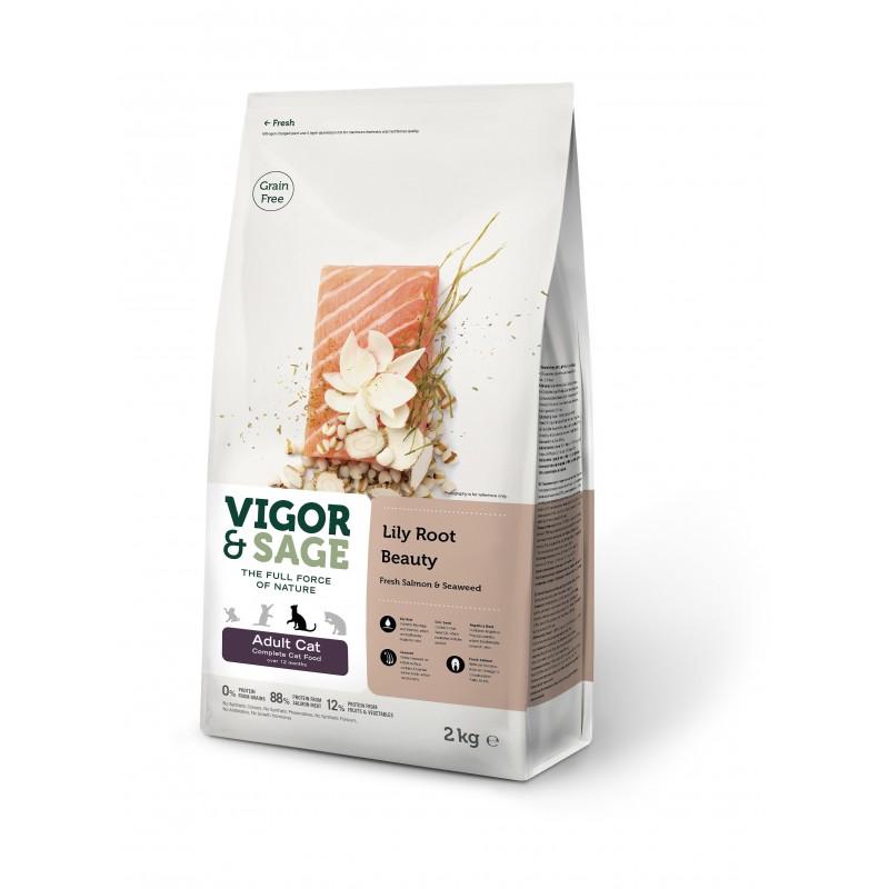 VIGOR & SAGE - Croquettes pour chat sans céréale au saumon 2 Kg