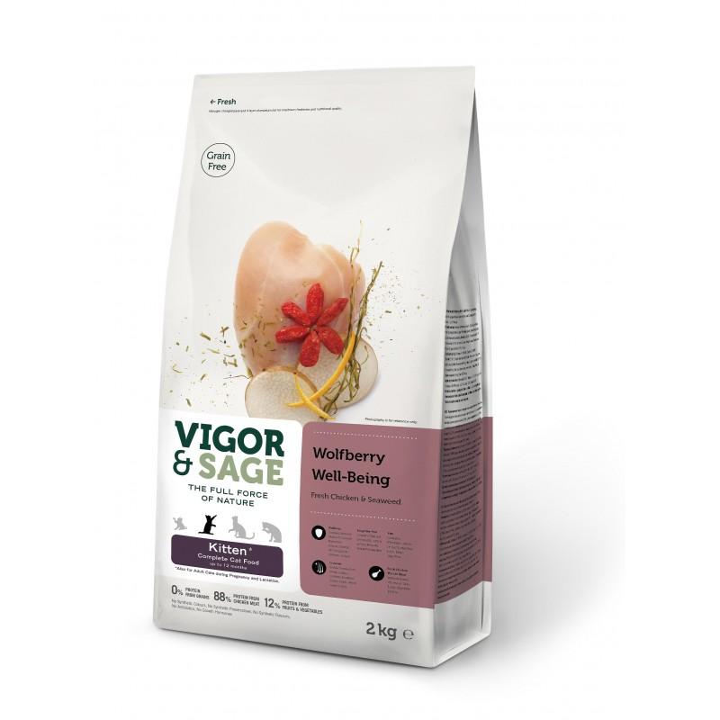 VIGOR & SAGE - Croquettes pour chaton sans céréale aux baie de Goji 2 Kg