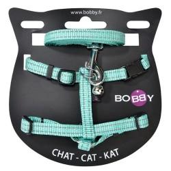 Kit harnais et laisse assortis pour chat + grelot Safe - BOBBY