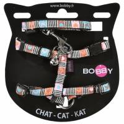 Kit harnais et laisse assortis pour chat + grelot Dolls - BOBBY