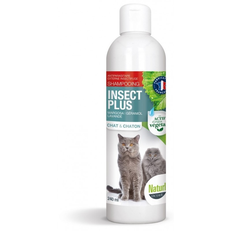 NATURLY'S - Shampoing insecticide anti-puces pour chat 240 ml