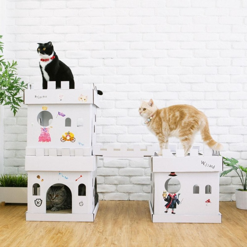 maison et griffoir en carton pour chat castle magicien. Black Bedroom Furniture Sets. Home Design Ideas