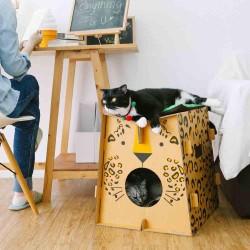 Griffoir en carton résistant pour chat Safari Léopart- CAT IN THE BOX