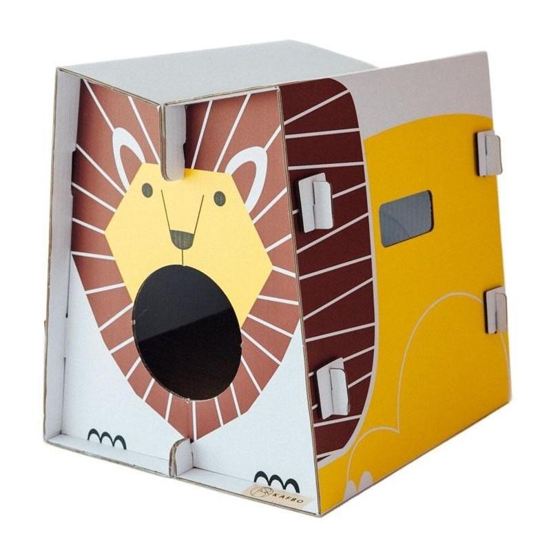 Griffoir en carton résistant pour chat Safari Lion - CAT IN THE BOX