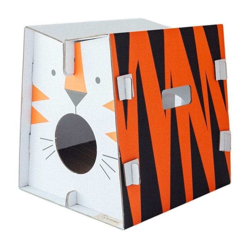 Griffoir en carton pour chat Safari Tigre- CAT IN THE BOX