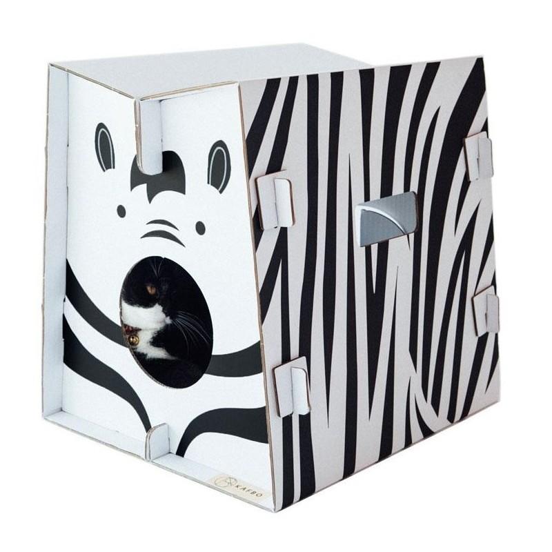 Griffoir en carton résistant pour chat Safari Zèbre- CAT IN THE BOX