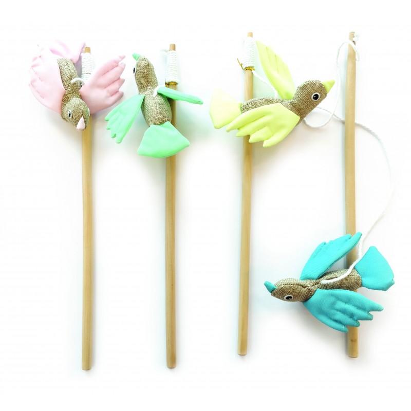 Canne à pêche pour chat réfléchissante en bois Bird  - M-PETS