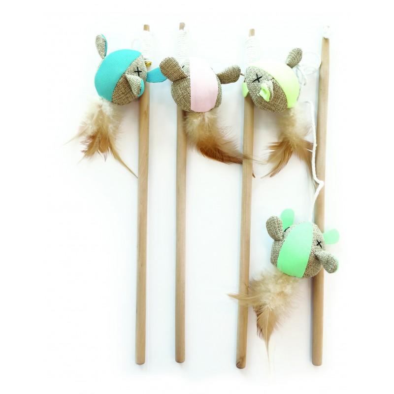 Canne à pêche pour chat avec souris réfléchissante - M-PETS