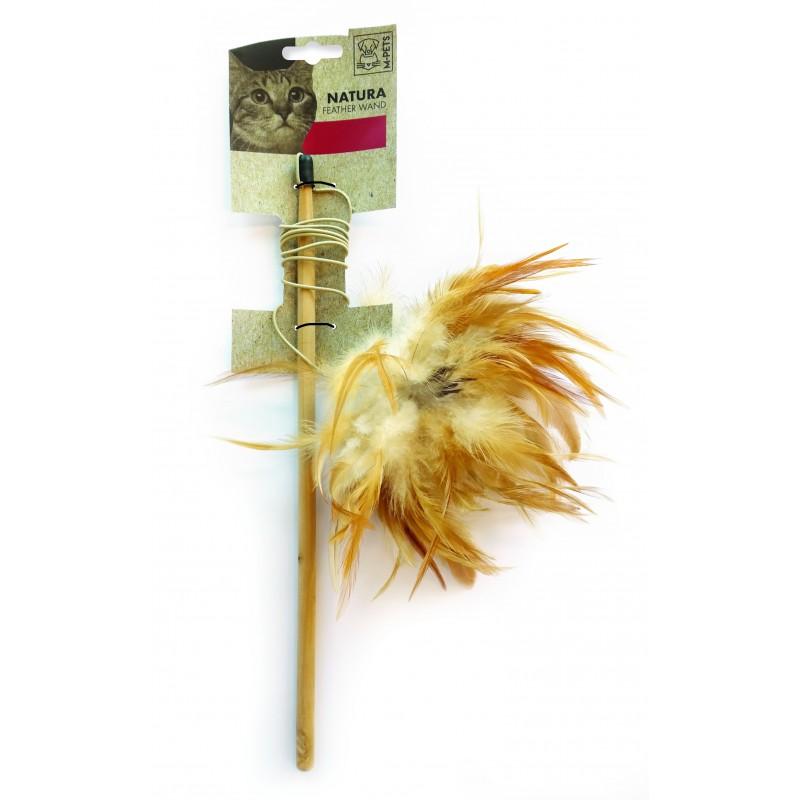Cannes à pêche pour chat avec plumes naturelles Natura Feather Wand - M-PETS