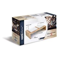 Double gamelle en bois et céramique pour chat Taille M - HAMIFORM