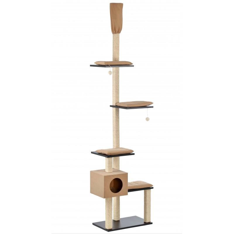 Arbre à chat haut plafonier en bois Bashira  - SILVIO DESIGN