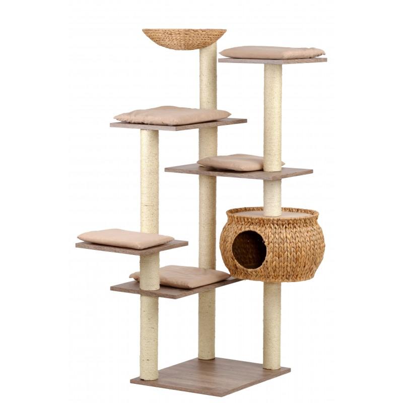 Grand arbre à chat d'angle en bois et jacinthe d'eau tressé Sky  - SILVIO DESIGN