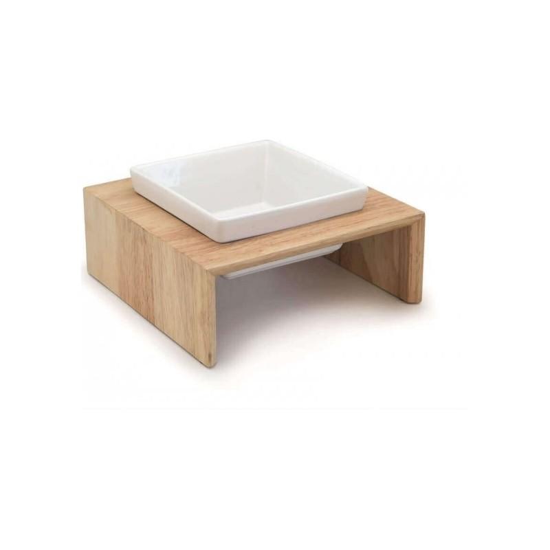 Gamelle en bois et ceramique pour chat - HAMIFORM