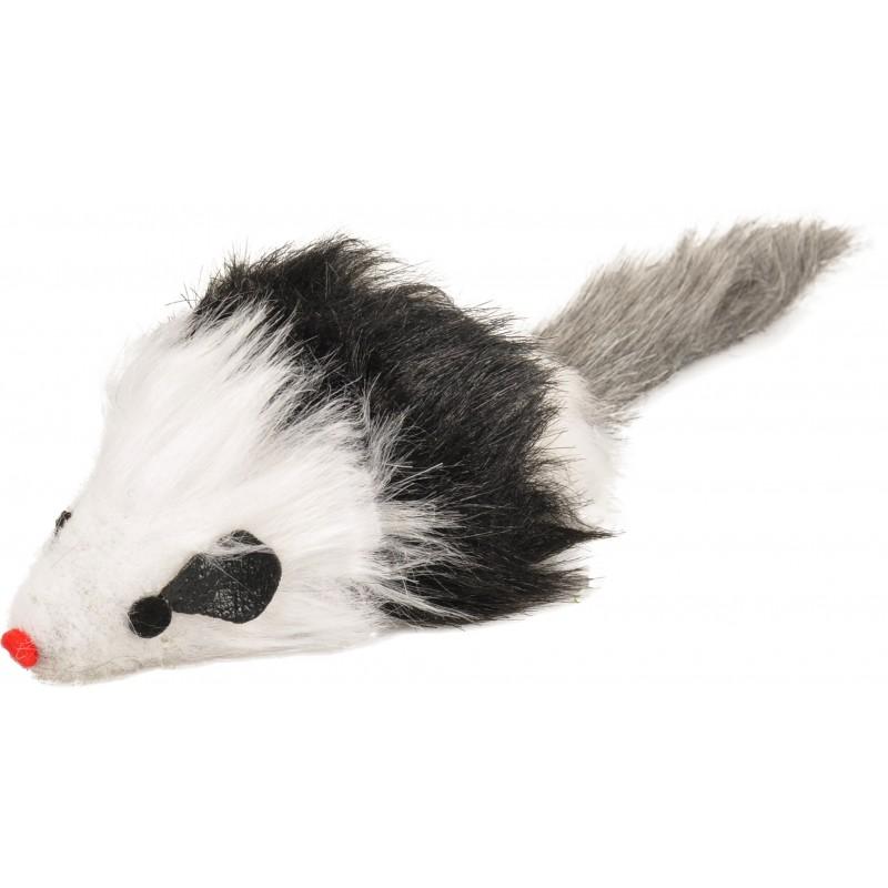 Jouet souris en fourrure synthétique à poils longs pour chat - FLAMINGO