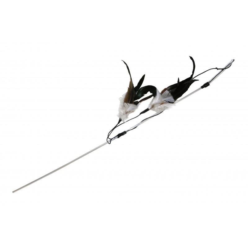 Grande canne à pêche pour chat en plumes naturelles - SCHULZE