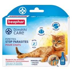 Pipettes sans pesticide anti-parasite pour chat x 6 Dimethicare - BEAPHAR