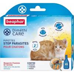 Pipettes sans pesticide anti-parasite chaton x 6 Dimethicare - BEAPHAR