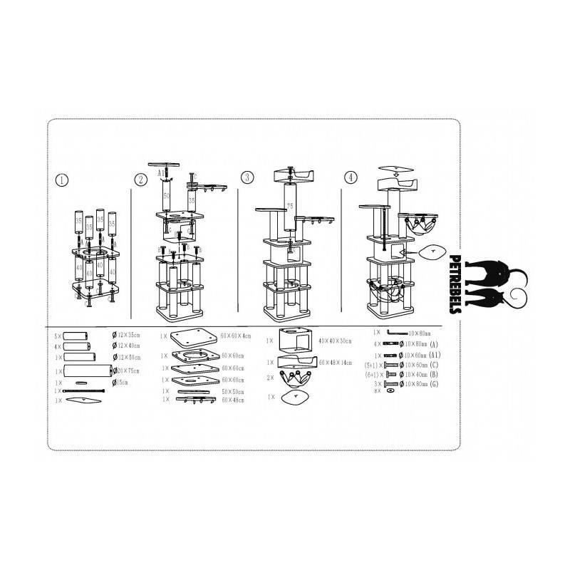 arbre chat g ant de haute qualit mainstreet 200 cm. Black Bedroom Furniture Sets. Home Design Ideas