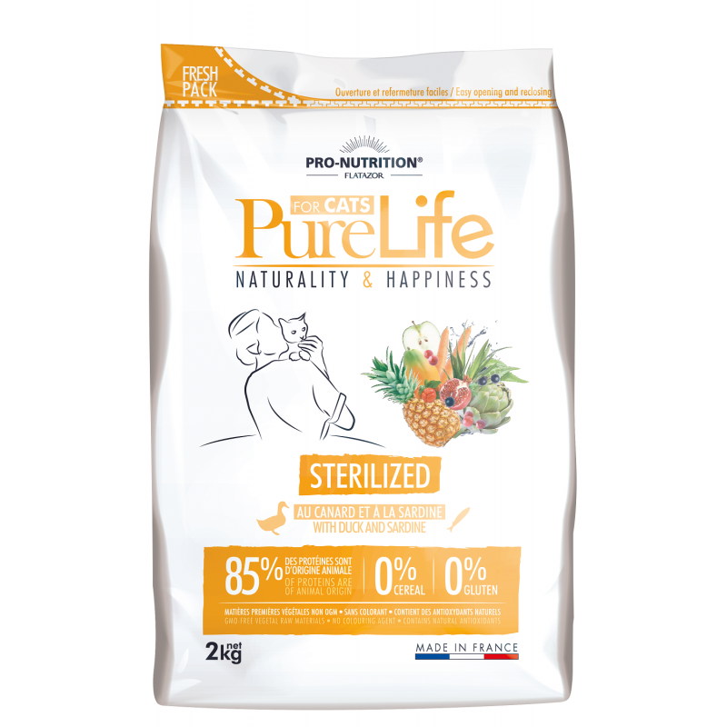 PURELIFE - Croquettes sans céréale pour chat adulte stérilisé