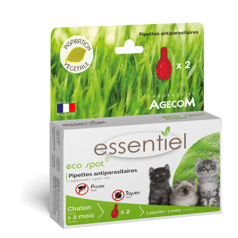 ESSENTIEL - Pipette Eco Spot anti-puce naturelle pour chaton