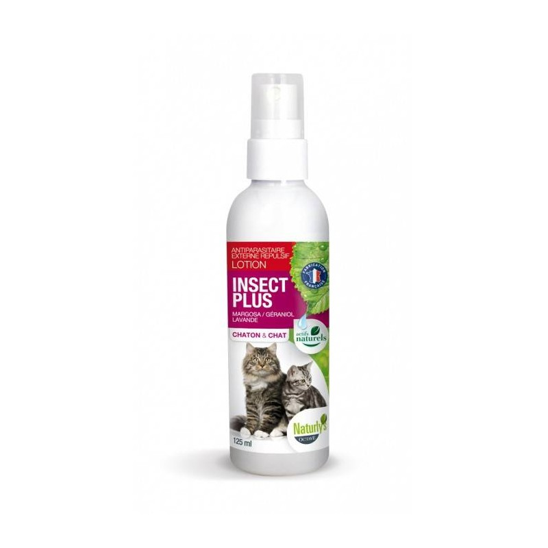 NATURLY'S - Lotion anti-puces pour chat Insect+ 125 ml