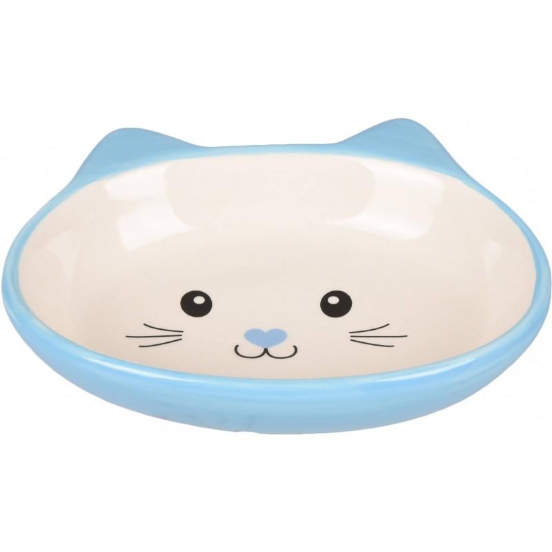 Gamelle en céramique tête de chat bleu - FLAMINGO
