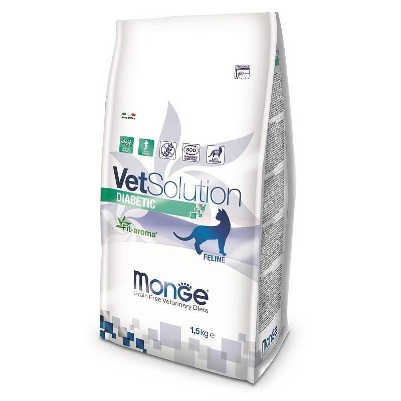 MONGE - Croquettes sans céréale VET Solution pour chat Diabetic