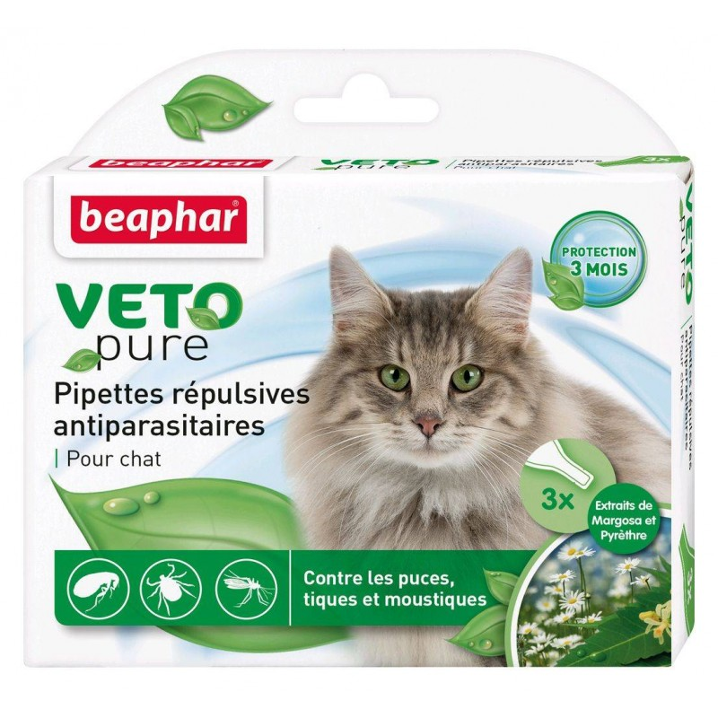 BEAPHAR - Vétonature Pipettes répulsives antiparasitaires chat