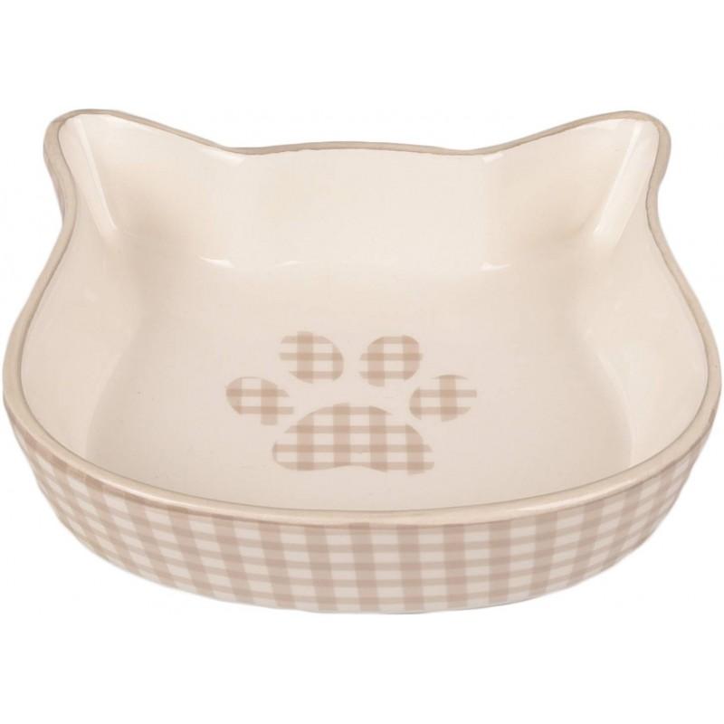 Gamelle en céramique tête de chat Vichy - FLAMINGO