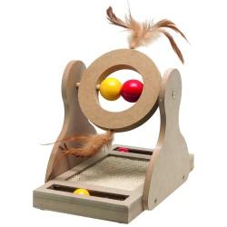 Jouet à griffer en bois pour chat Tumbler - FLAMINGO