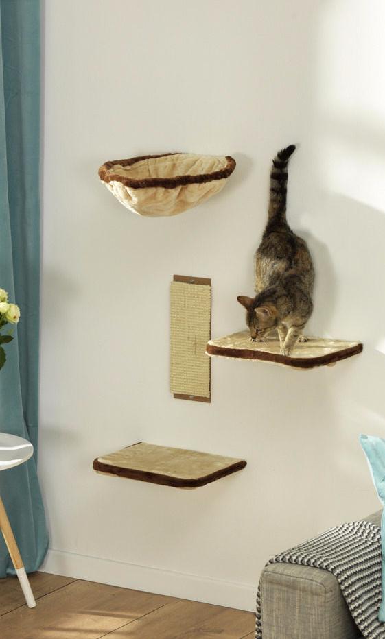 arbre chat avec passerelles parcourt mural pour chat 4 tag res. Black Bedroom Furniture Sets. Home Design Ideas