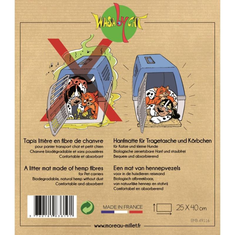 Le tapis-litière pour chat Wasaby Cats aide votre chat à rester au sec pendant son voyage.