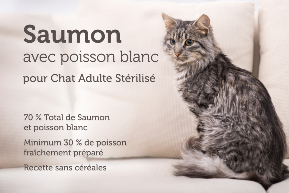 Croquettes chat stérilisé Saumon Poisson blanc 1,5 kg - CAT APART